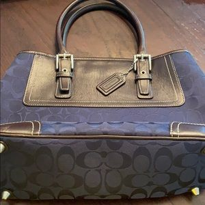 Navy with Brown Leather Coach Bag